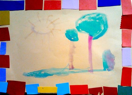 paesaggio con cornice acquerello e collage su cartoncino orlando fiorelli marzo 2015